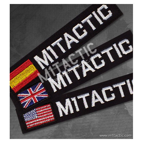 Custom Black - White Name Tape with USA, UK or Spain flag.