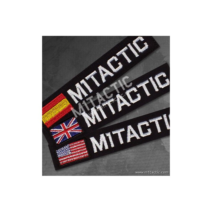 Nametape personalizado Negro y con la bandera de España, Inglaterra o USA