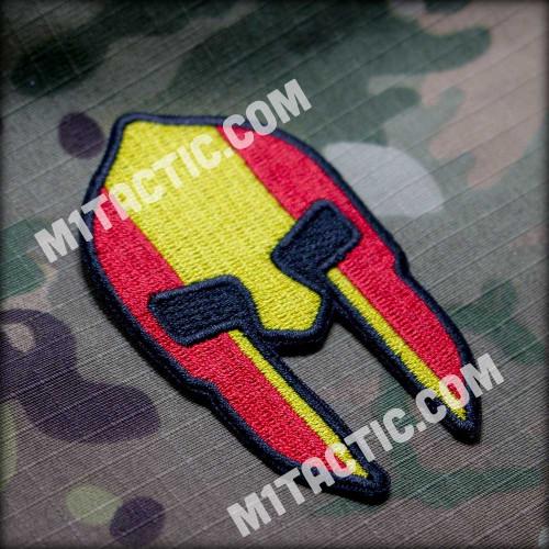 Spartan helmet badge with the flag of Spain