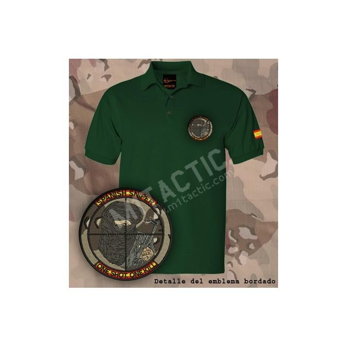 """Polo verde bordado Francotirador """"SPANISH SNIPER"""" Ejército Español"""