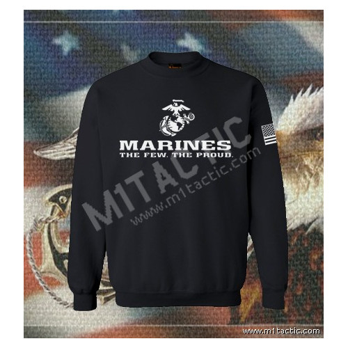 Sudadera Marines The Few. The Proud Negra-Blanca