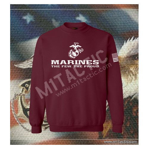 Sudadera Marines The Few. The Proud Burdeos-Blanca