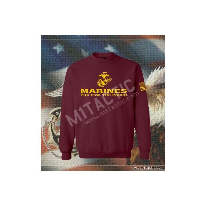 Sudadera Marines The Few. The Proud Burdeos-Amarilla