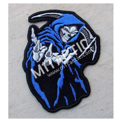 Hooded Grim Reaper Skull (Blue) Patch