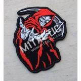 Hooded Grim Reaper Skull (Red) Patch