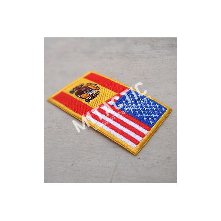Embroidered USA-Spain flag patch