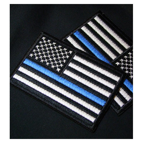 Embroidered USA Flag Thin Blue Line Police Cop
