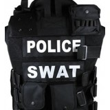 Personnalisé Chest Vest Black - Nom Ruban Blanc (SWAT)