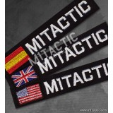 Custom Black - White Name Tape with USA, UK or Spain flag.