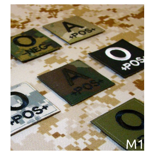 Military Blood Type Patch (various camouflages)
