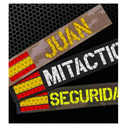 Custom Reflective Name Tape with Spanish Flag