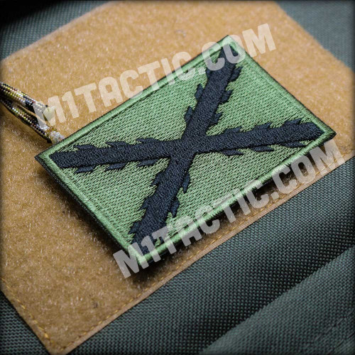 Cross of Burgundy Embroidered Patch - Olive Green