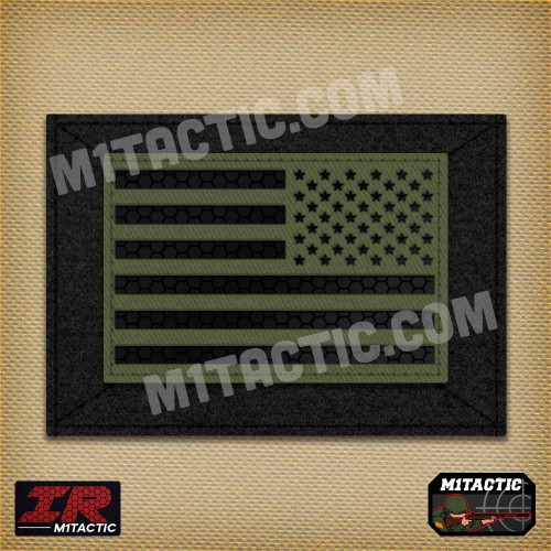 Reverse Infrared IR USA Flag - Olive