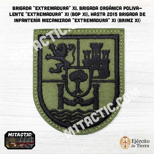 "Parche de brazo Brigada ""Extremadura"" XI - BRIMZ - Verde Caqui"