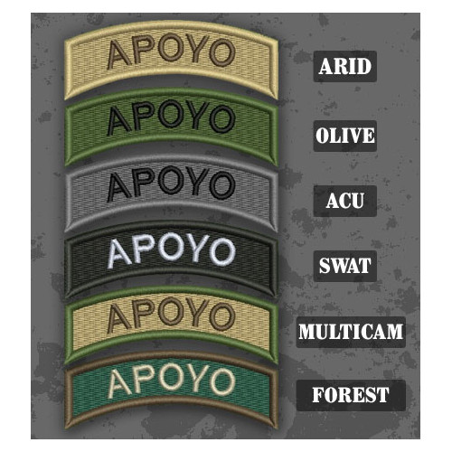 Support / Apoyo Shoulder Tab Patch in different color variants