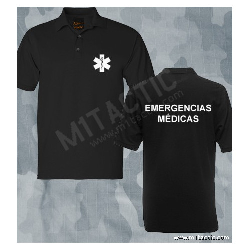 Polo Emergencias Médicas Negro-Blanco