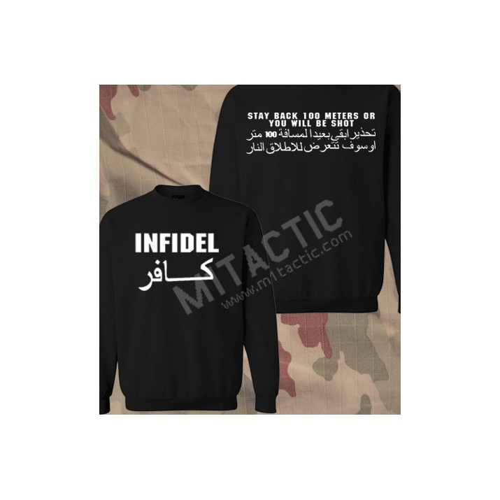 Sudadera Infidel - Stay back 100 meters... Negra