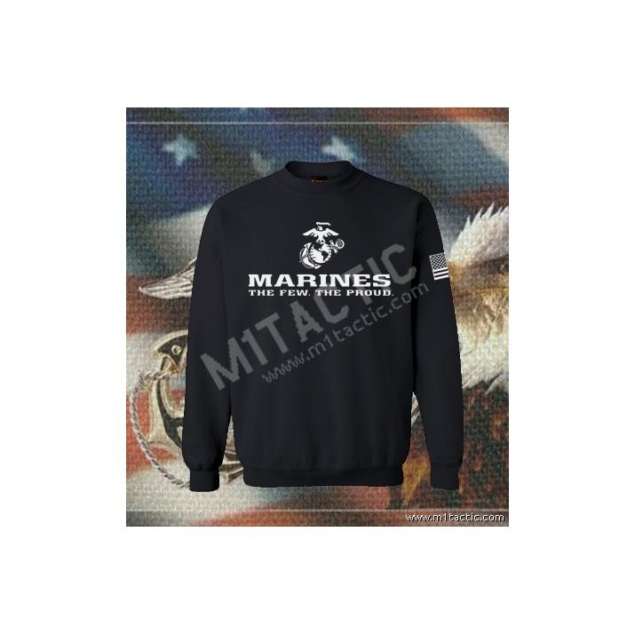 Sudadera Marines The Few. The Proud Negra-Blanca